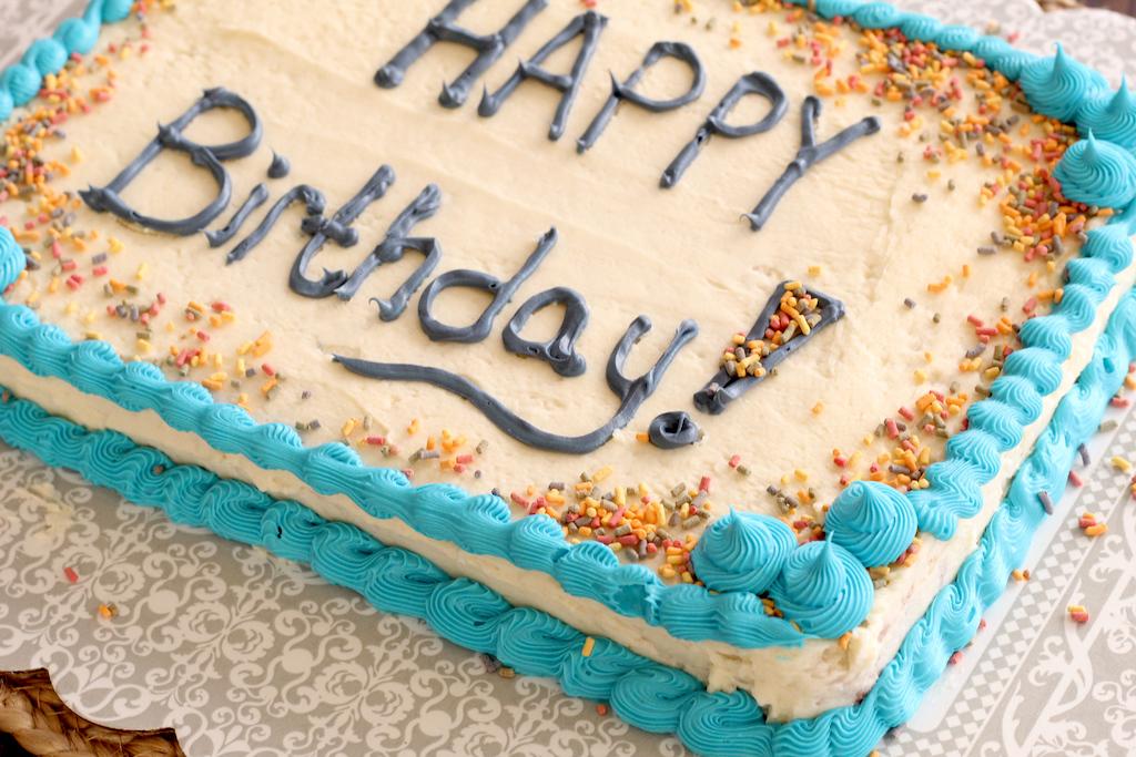 Happy Birthday keto cake with frosting