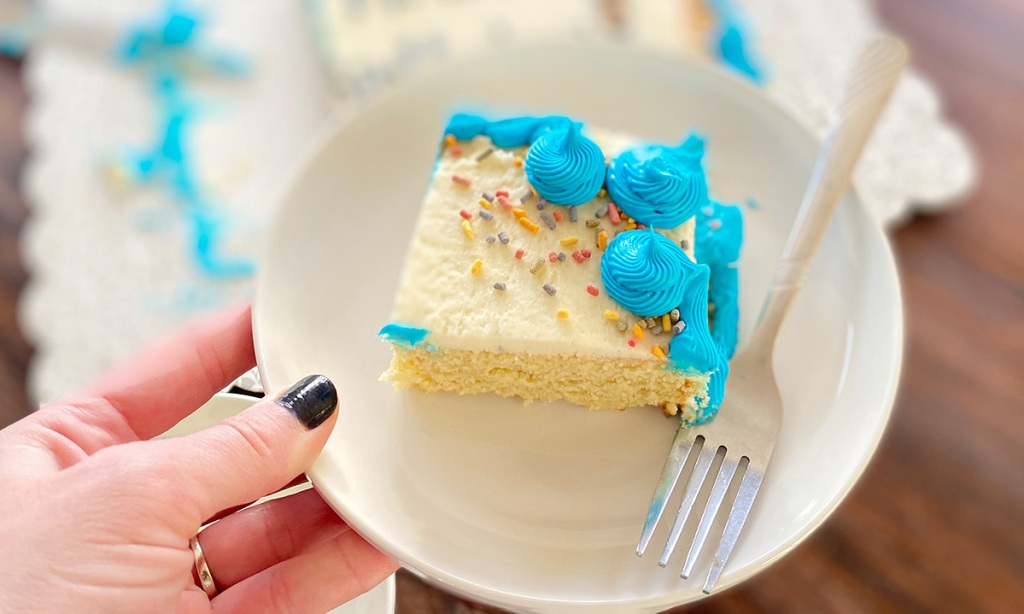 keto birthday cake on plate