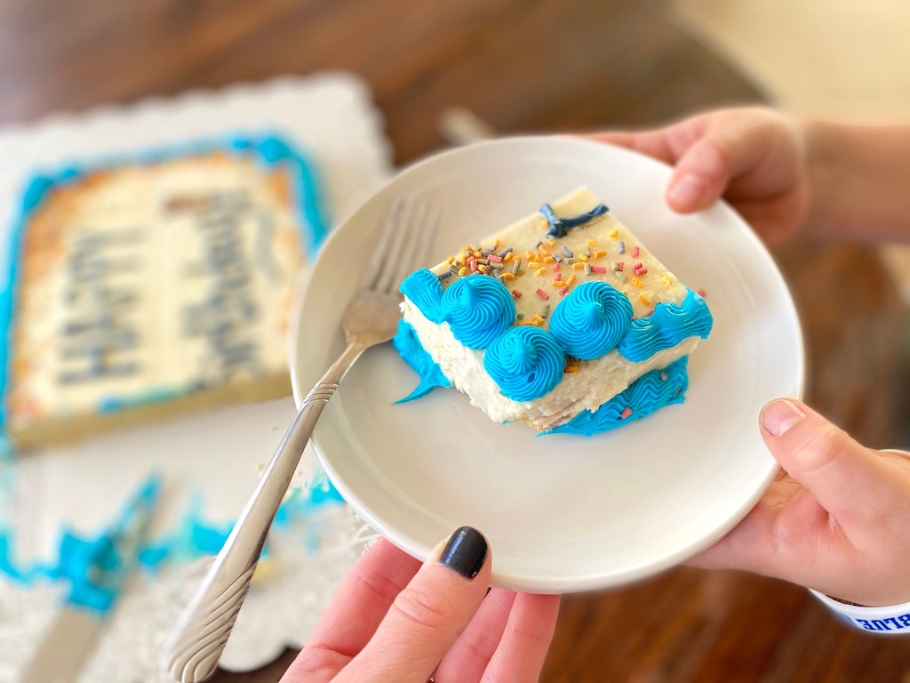 slice of keto birthday cake on plate