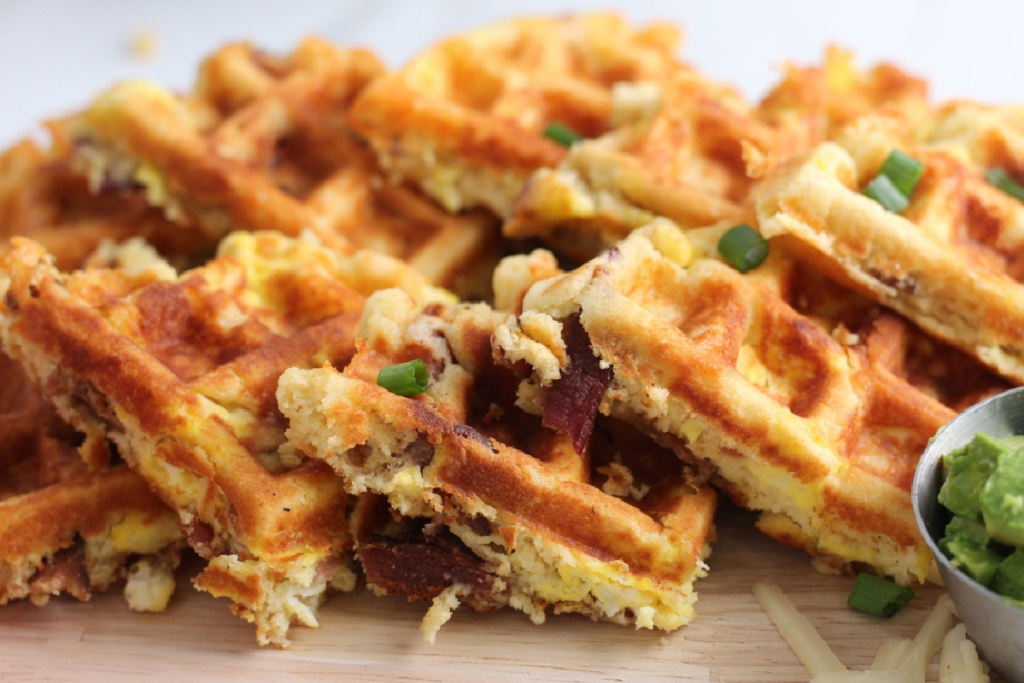 close up of breakfast waffles