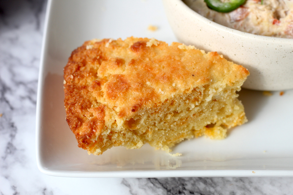 keto cornbread on plate by soup