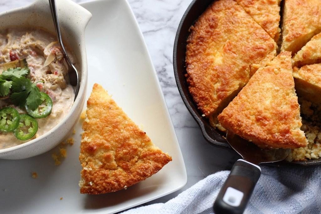 keto cornbread with white chicken chili