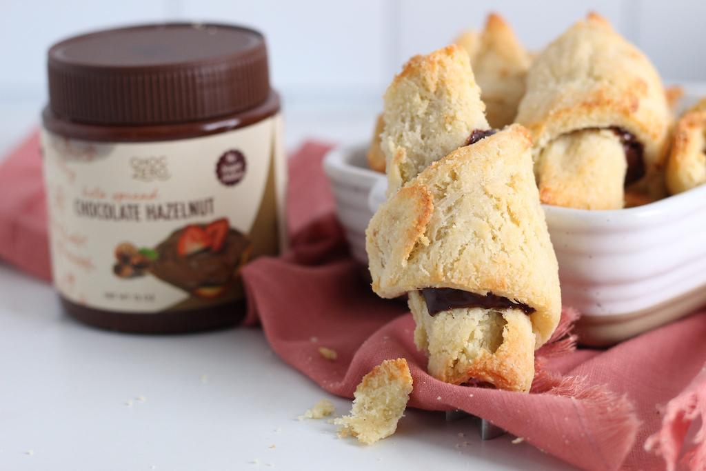 crescent rolls in dish by ChocZero chocolate hazelnut spread