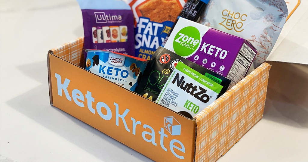 keto krate box filled with keto snacks