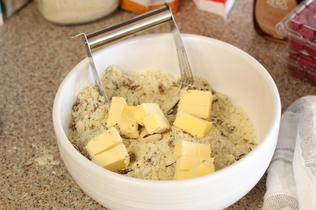 bowl of keto dough being prepared
