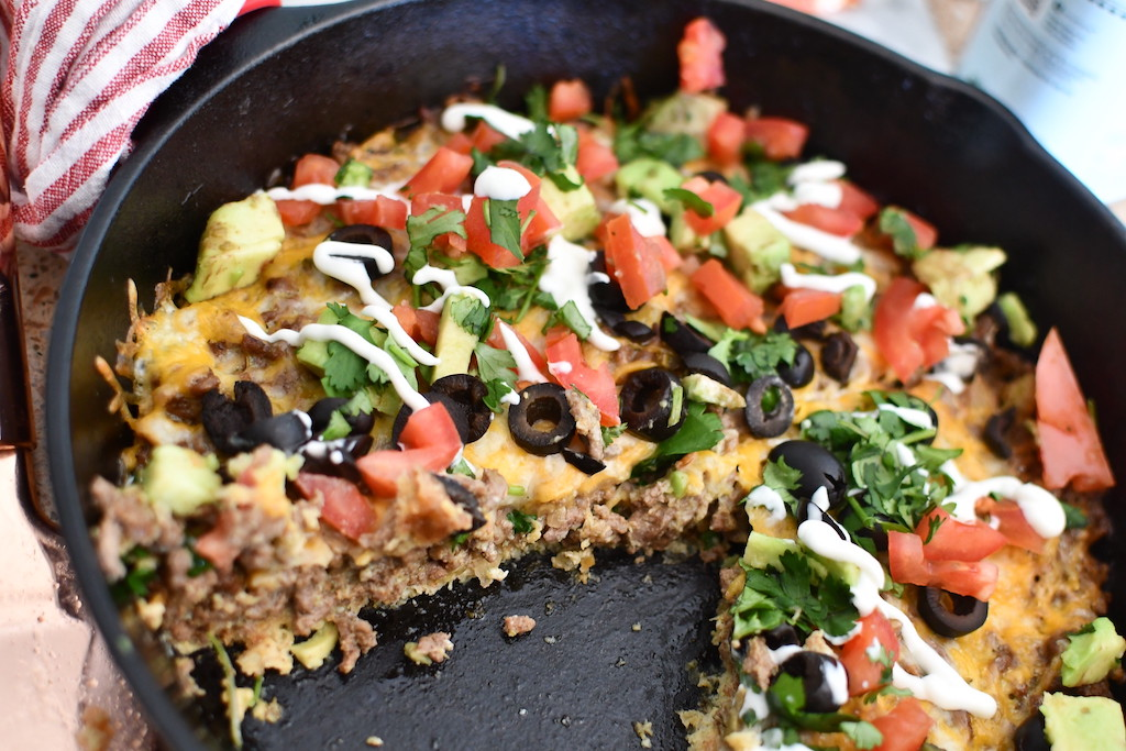 Keto taco pie in cast iron skillet