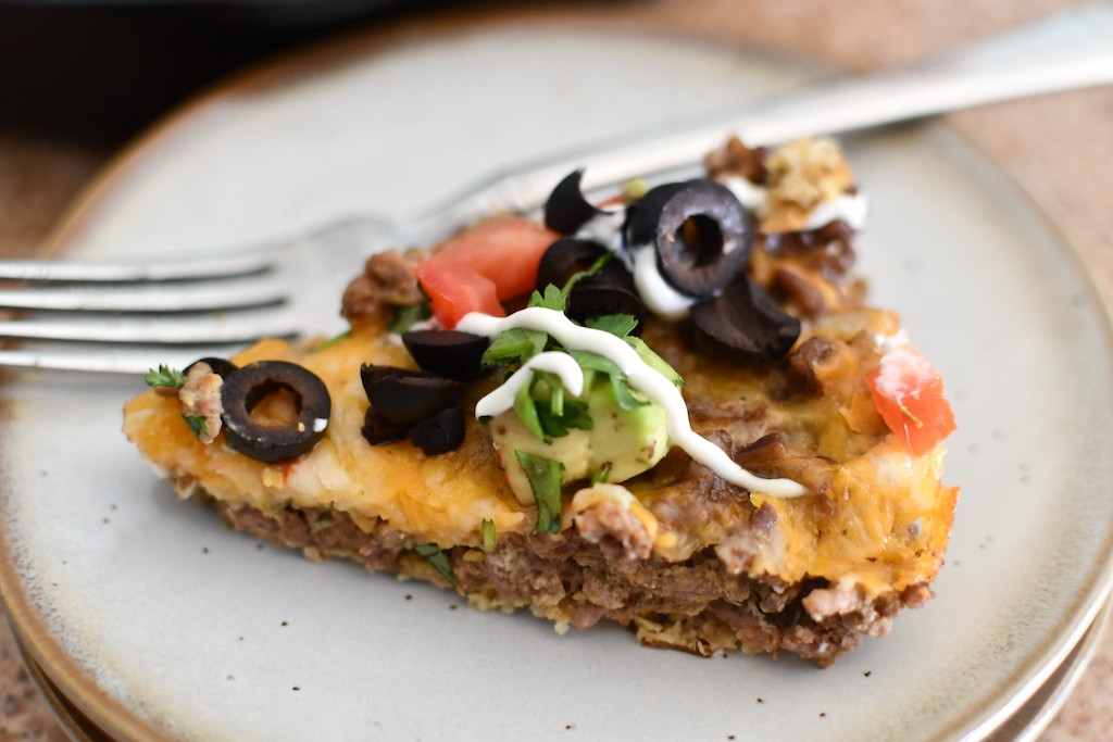 keto taco pie slice on plate