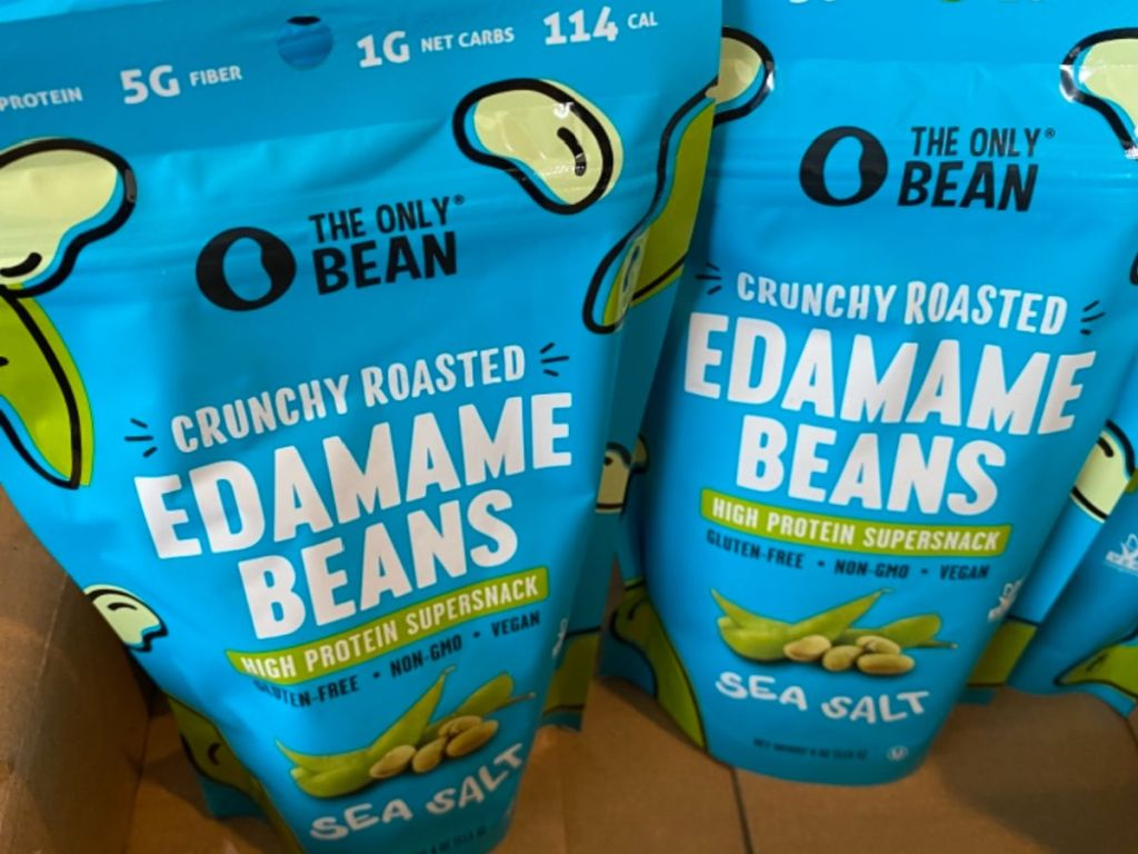 bagged edamame beans in shipping box