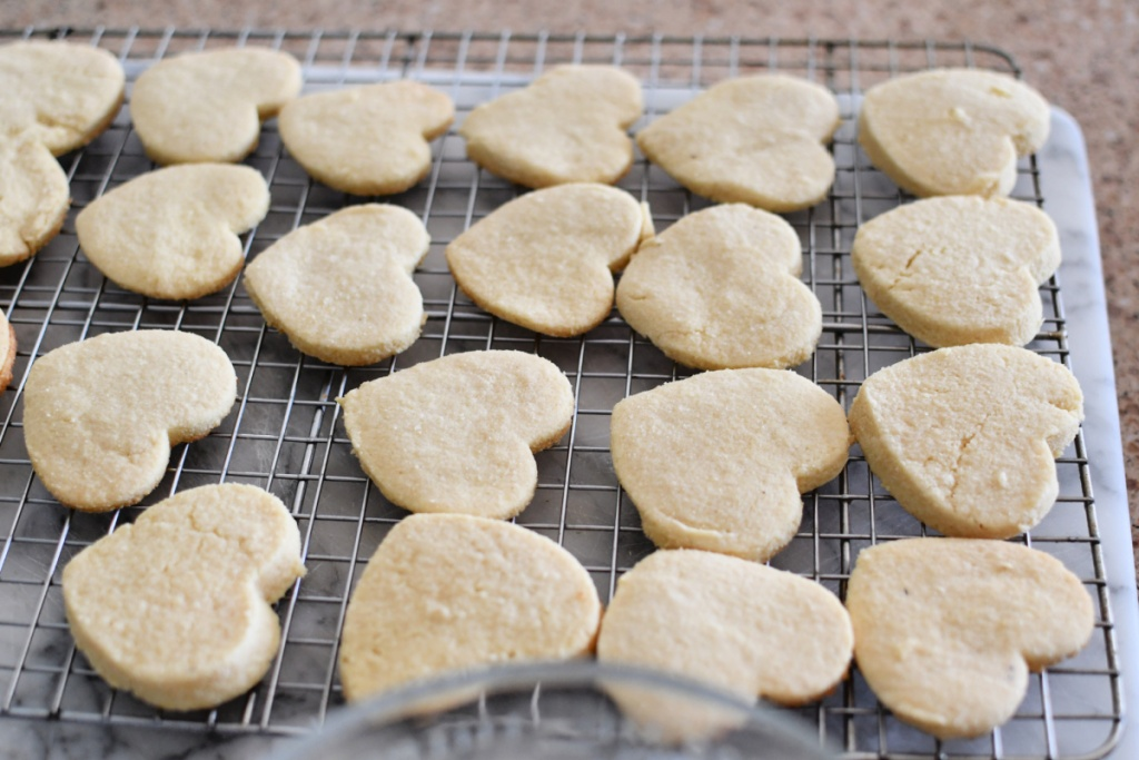 tray with keto sugar cookies in conversation heart shapes