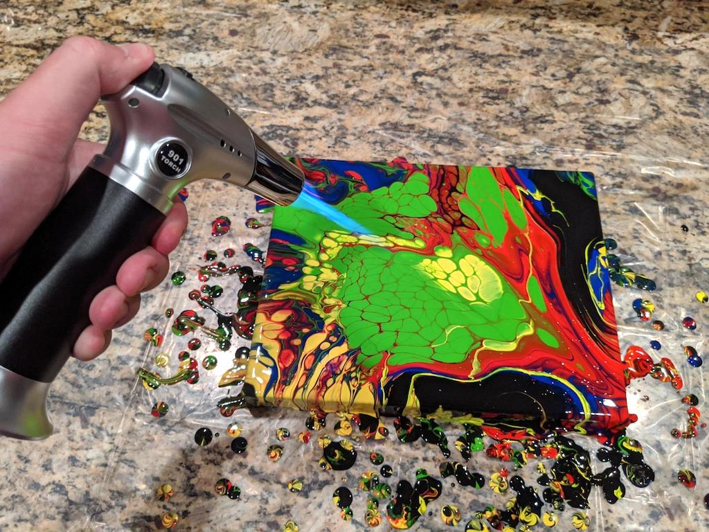 using kitchen blow torch to make art
