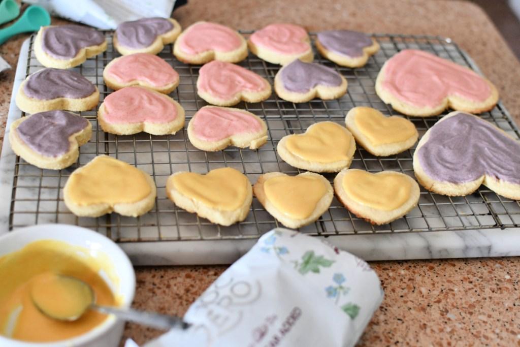 white chocolate glaze on keto sugar cookies