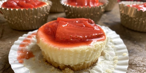Mini Keto Cheesecake Bites with Strawberry Glaze