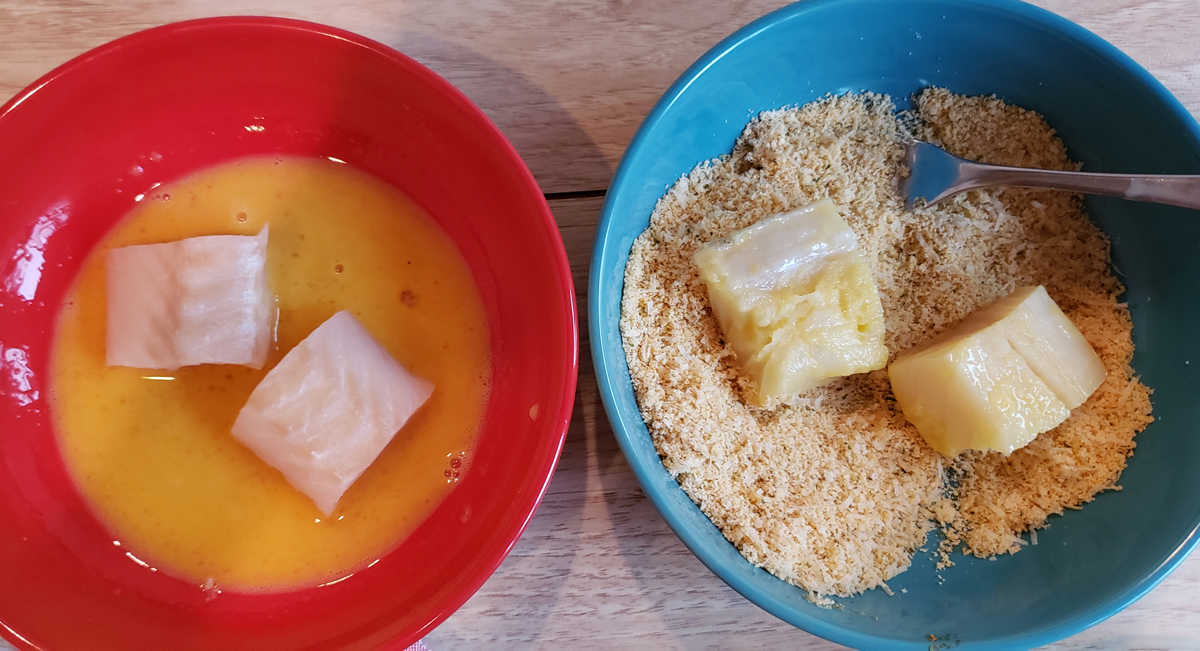 Fish in beaten eggs and others in breading mix