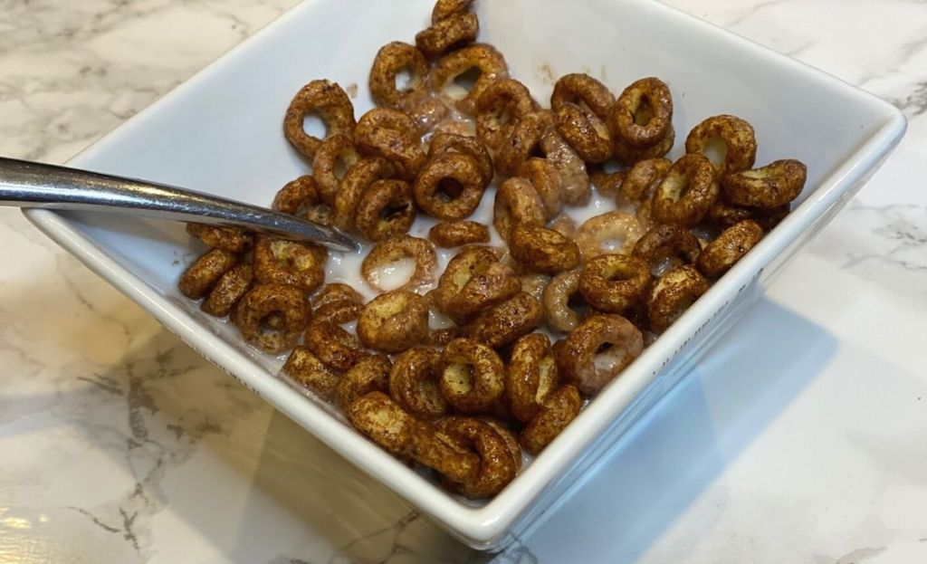 A bowl of kashi keto cereal on a counter