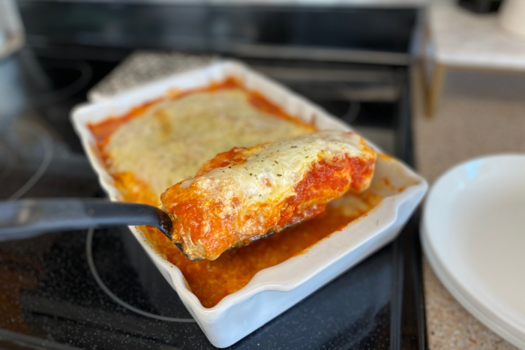 keto lasagna stuffed chicken on spatula