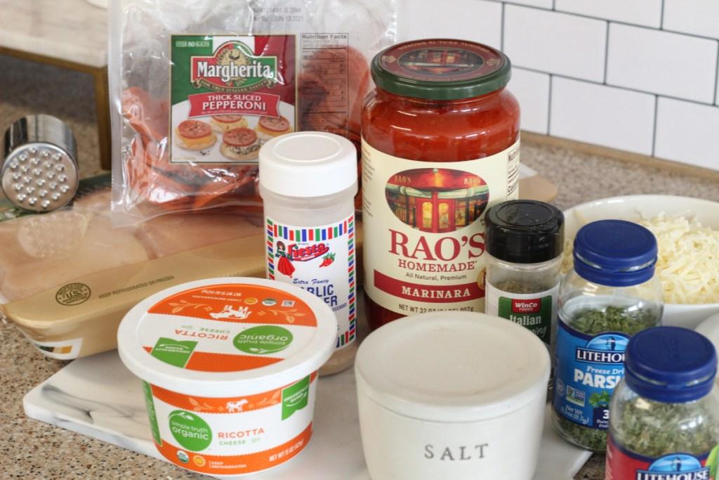 ingredients for keto lasagna stuffed chicken