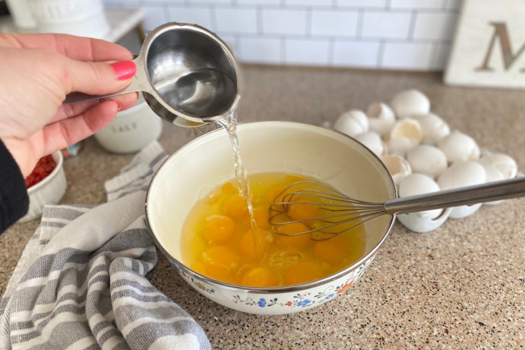 adding water to eggs