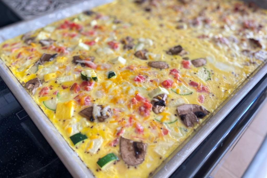 sheet pan of keto omelets