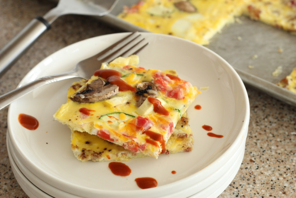stacked plate of keto omelet