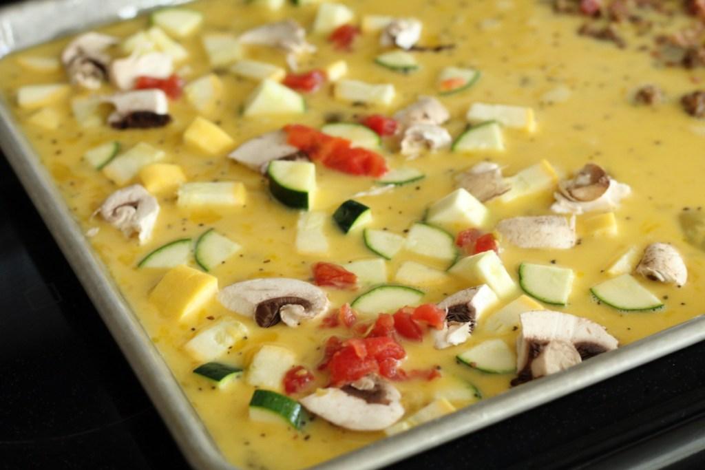 veggie side of a Keto omelet sheet pan