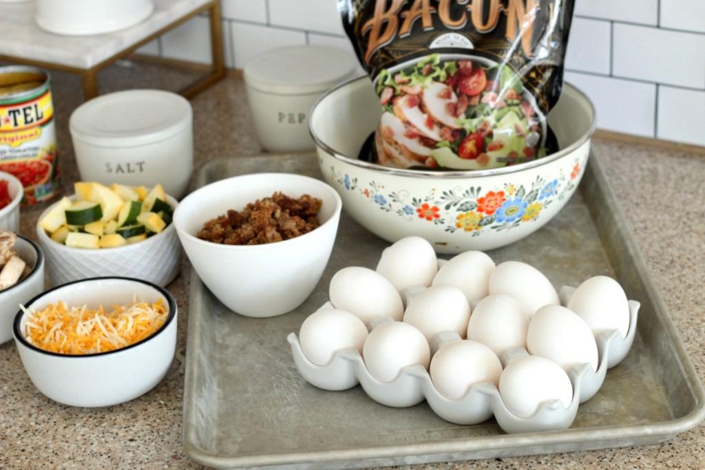 ingredients for Keto omelet sheet pan