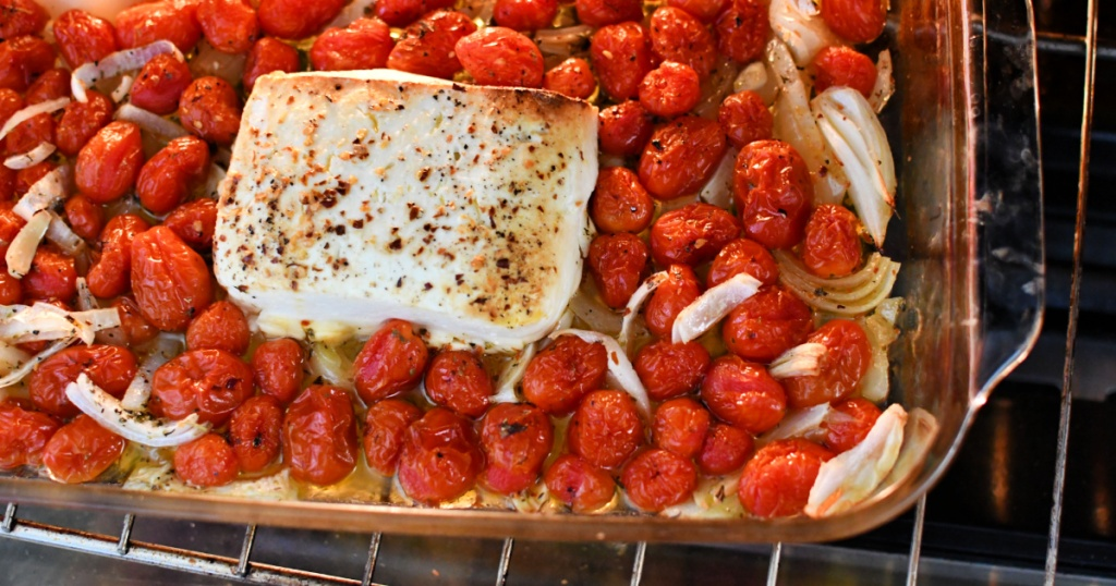 baked feta in the oven with cherry tomatoes