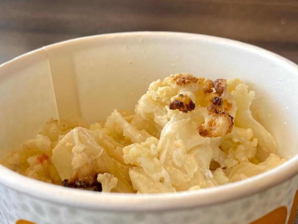 cauliflower mash in a cup from Qdoba