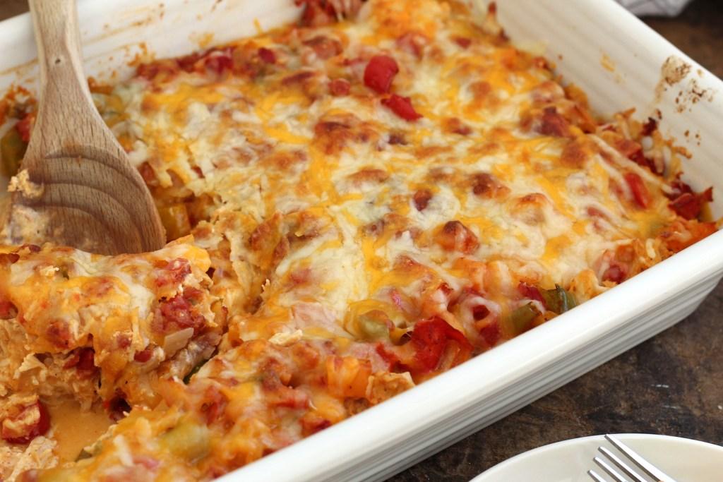 serving keto chicken fajita casserole