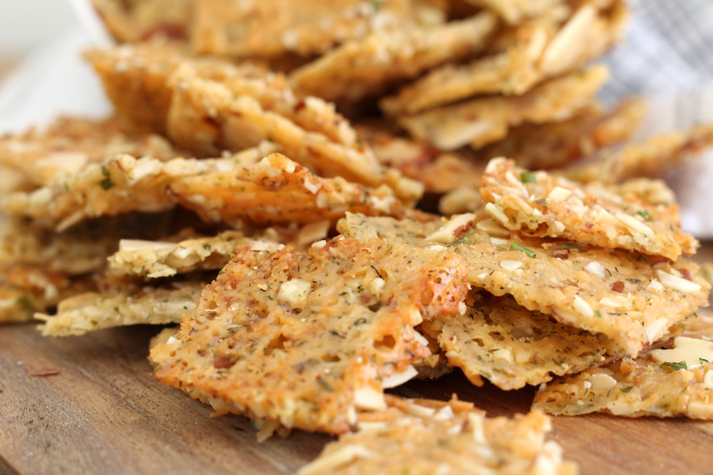close up of keto crackers