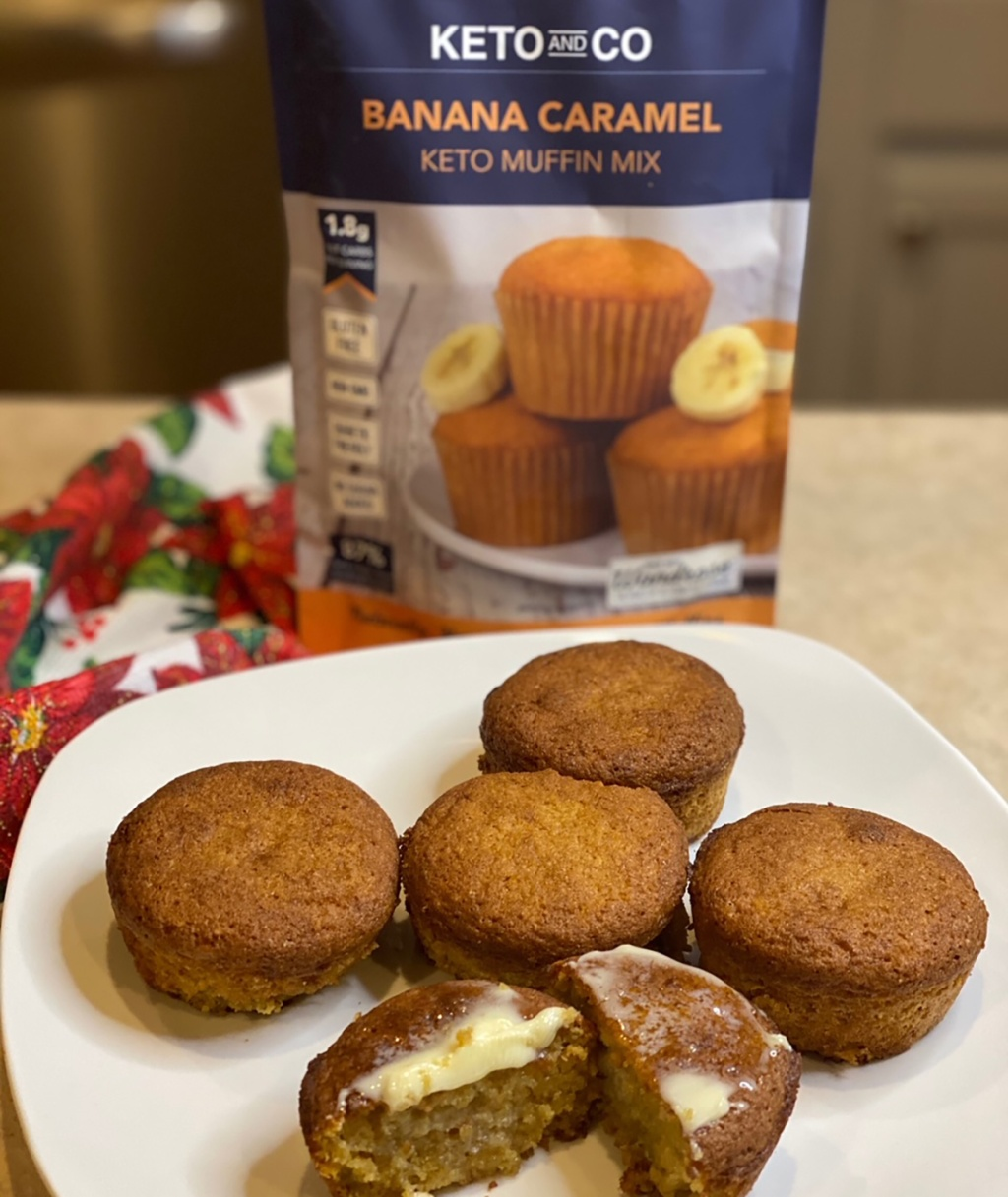 plate with keto and co banana caramel muffins