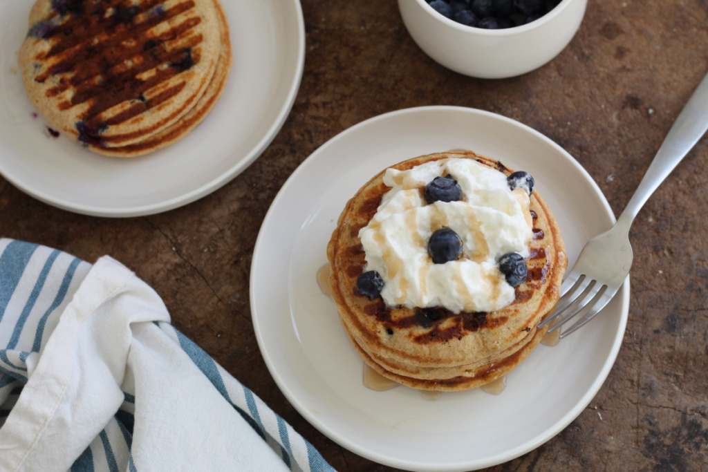 keto blueberry chaffles on a plate