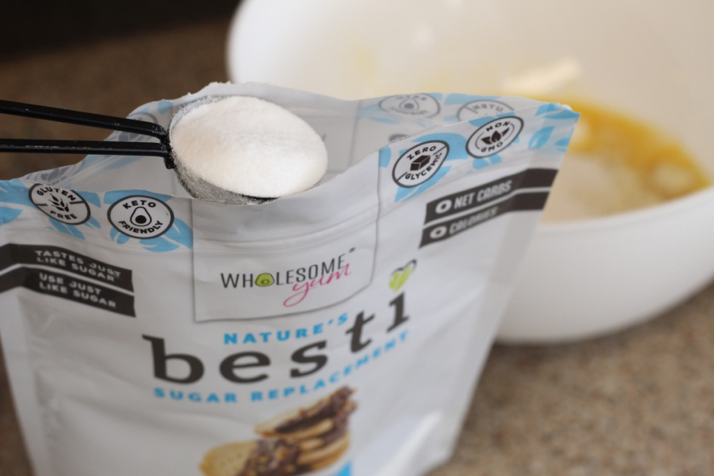 adding sugar replacement to mixing bowl