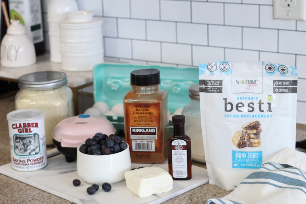ingredients for keto blueberry chaffles