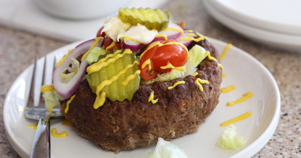 keto burger in a bowl on plate