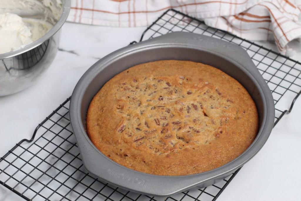 keto carrot cake cooling on rack
