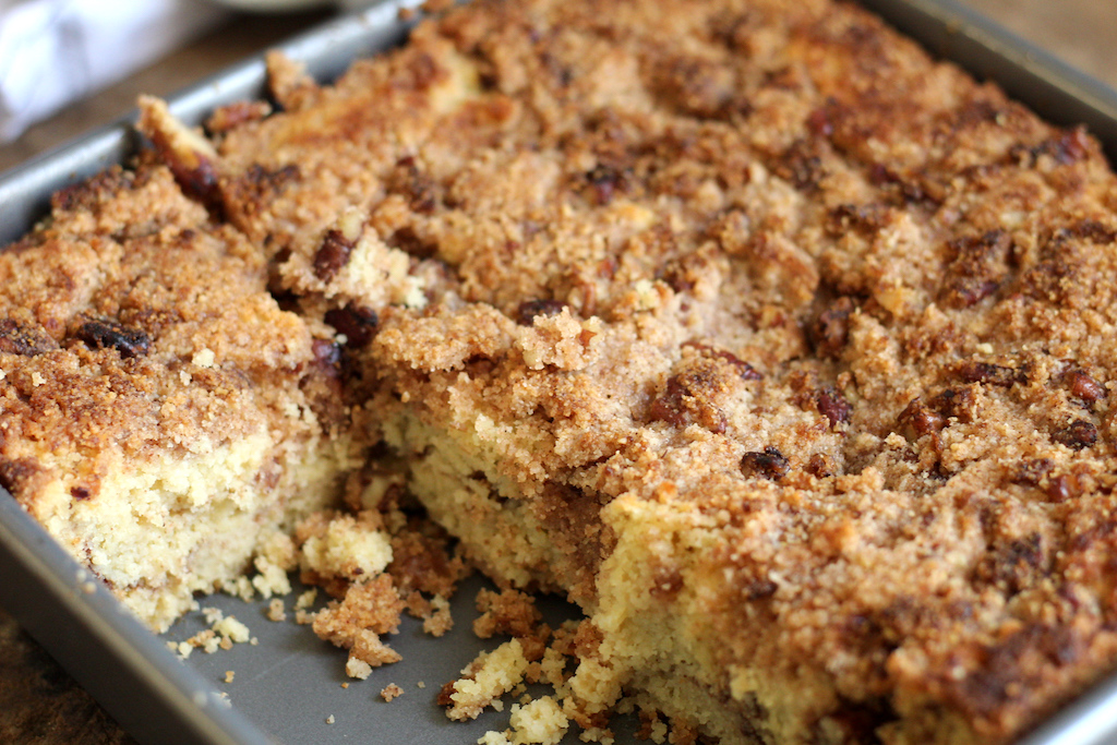 keto coffee cake in pan