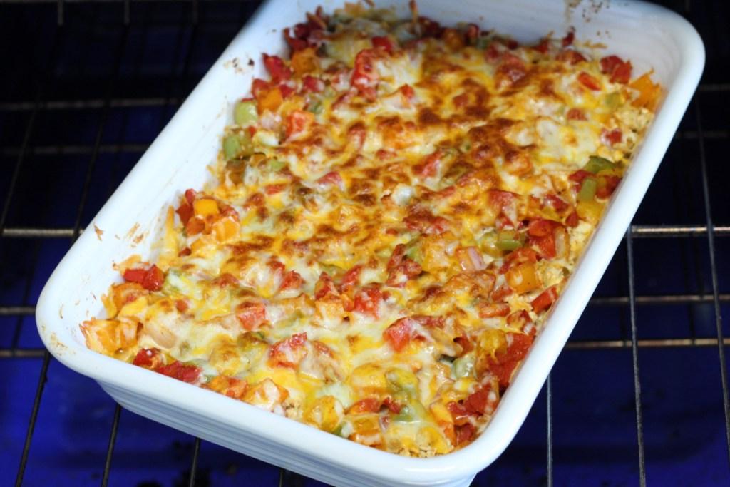 keto fajita chicken casserole out of the oven