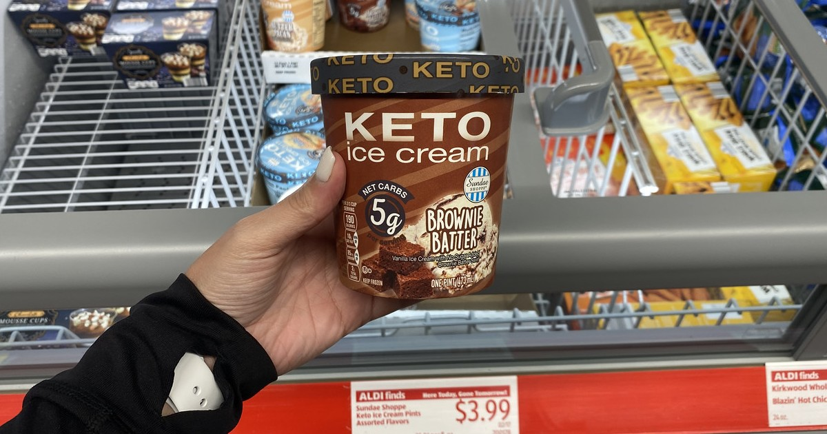 holding keto ice cream advertised in ALDI weekly ad