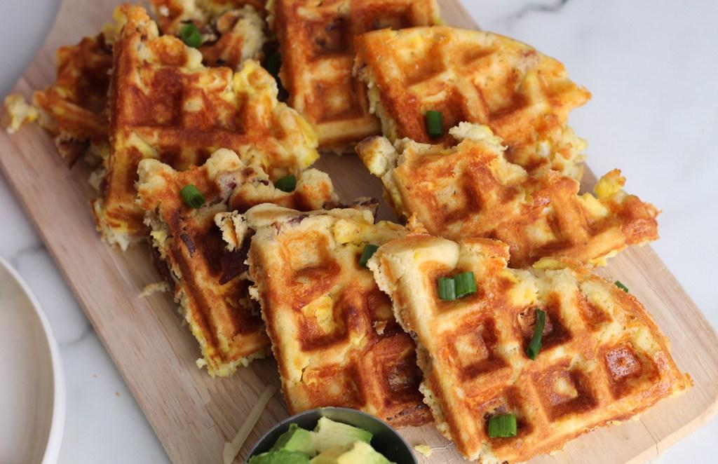 keto loaded waffles on serving board