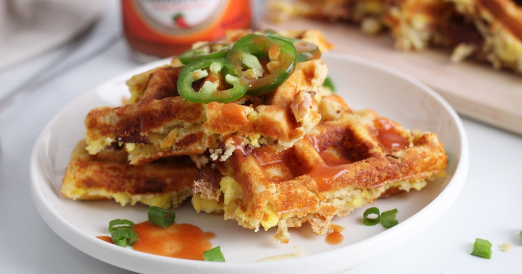 stack of keto loaded waffles