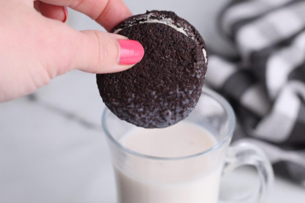 keto oreo cookie dipped in almond milk