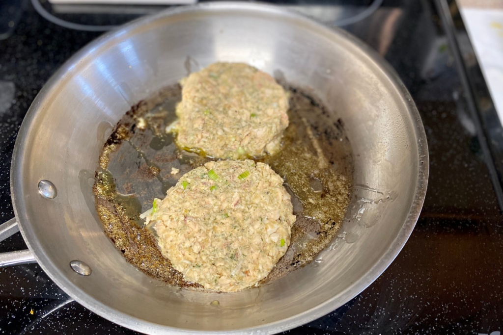 salmon patties in a skillet