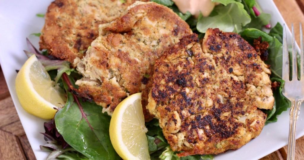 plate of keto salmon patties