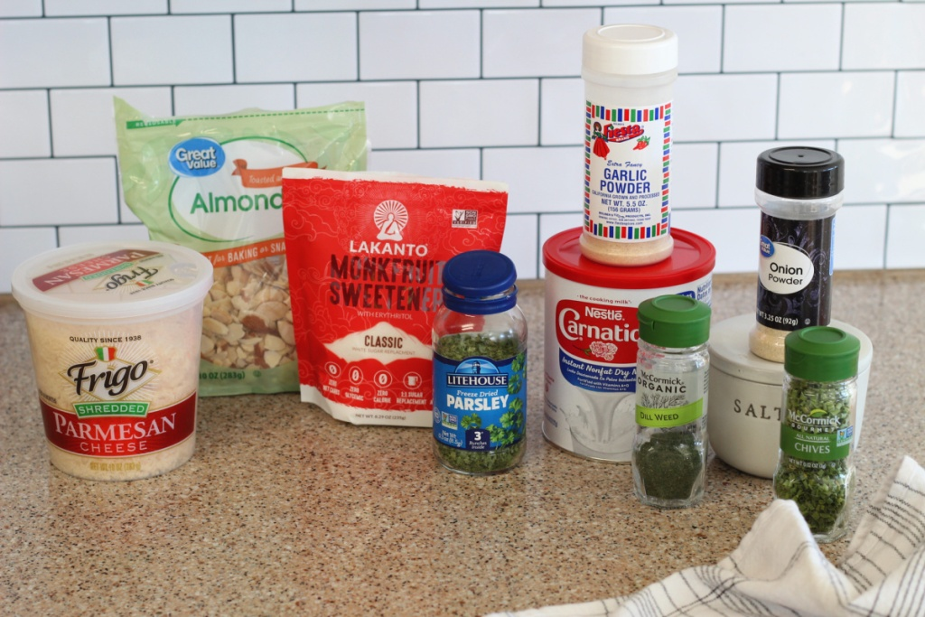 ingredients for keto sour cream and chive crackers