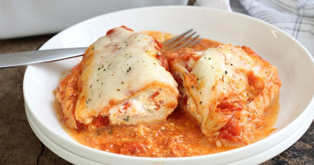 lasagna stuffed chicken on plate