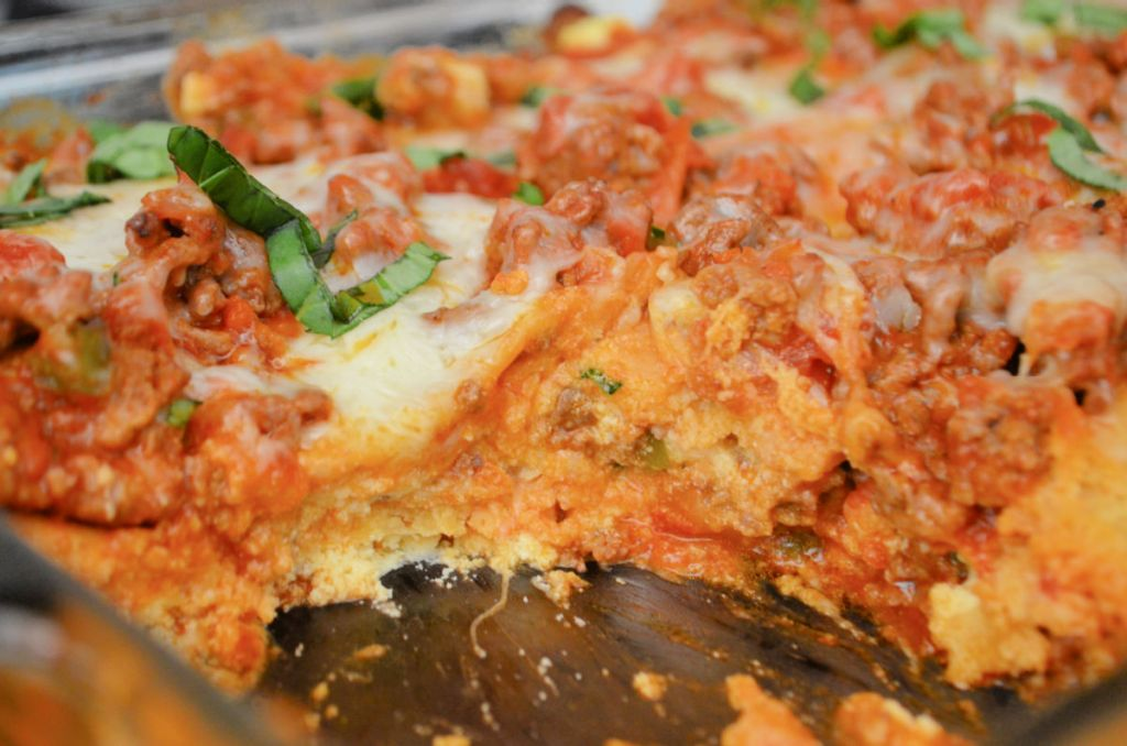 keto lasagna in a pan