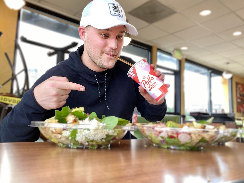 man enjoying El Pollo Loco keto salads