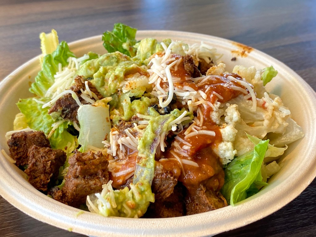Qdoba salad with meat and cauliflower mash