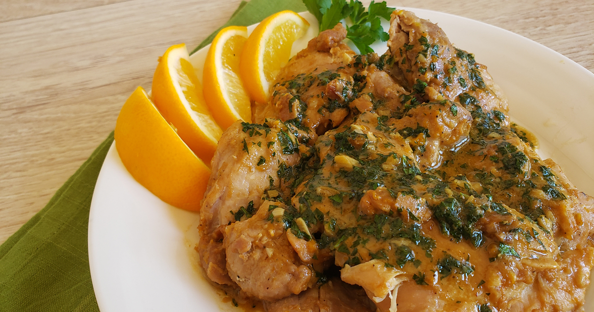 Plated Lemon Dijon Chicken Thighs