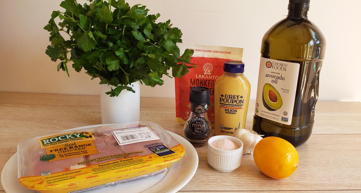 ingredients for lemon dijon braised chicken thighs